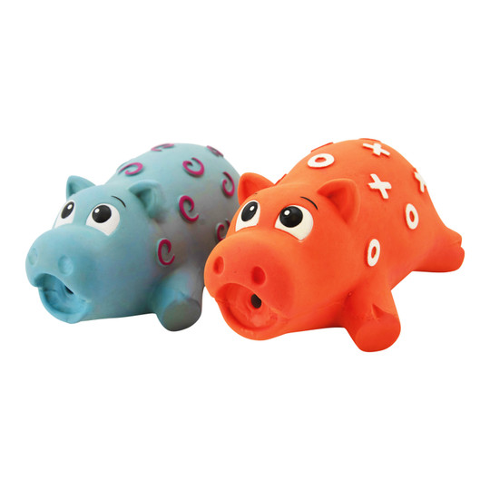 Pigglez Latex Grunting Dog Toy 2-Pack, Assorted, Large
