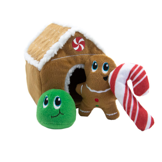 Hide A Gingerbread House Plush Dog Toy Puzzle, Brown