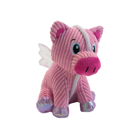 Tuffones Flying Pig Holiday Dog Toy, Pink, Small