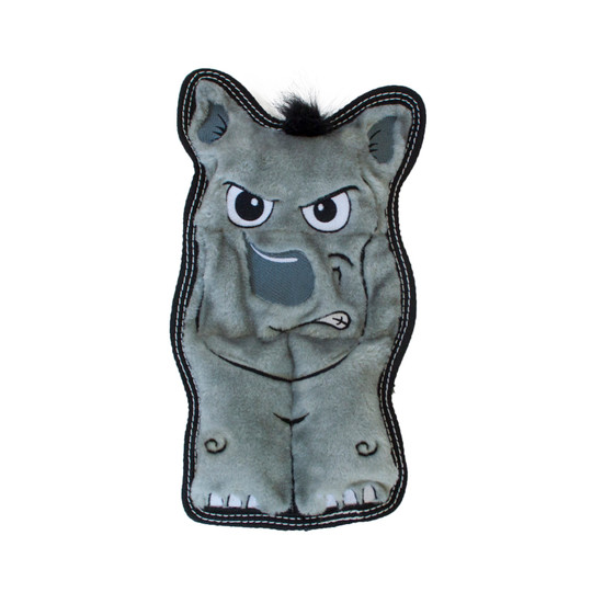 Tough Seamz Rhino Plush Dog Toy, Grey, Medium