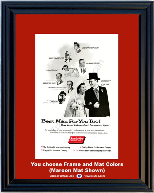 1957 57 America Fore Insurance Group Best Man for You Too Wedding Just Married Vintage Ad