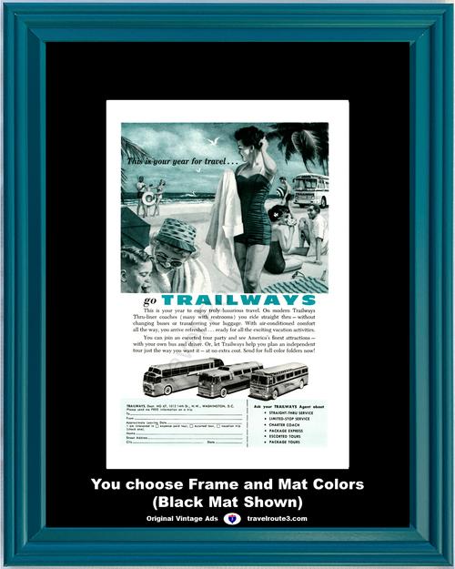 1957 57 Trailways Bus Coach Line Thru-Liner Tours Beach Vacation Travel Vintage Ad