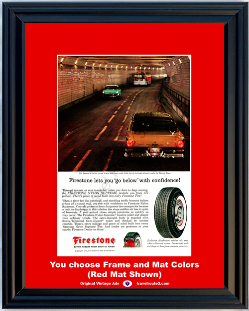 1957 57 Firestone Tire Rubber Nylon Detroit Windsor Tunnel Ford Chevy Vintage Ad