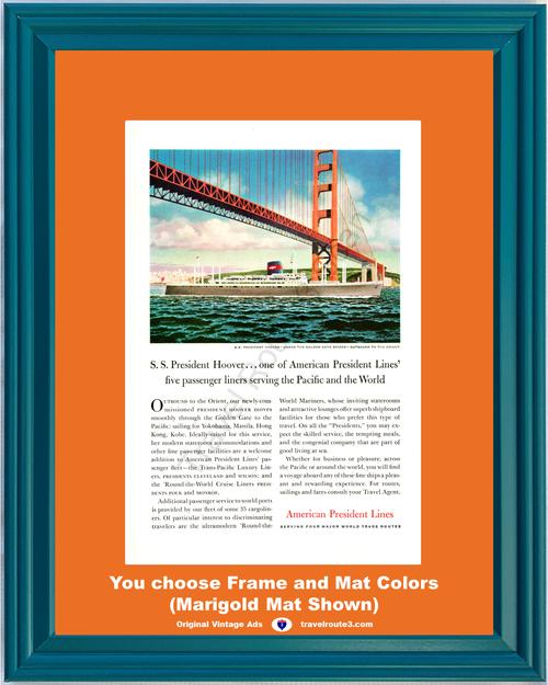 1957 57 American President Cruise Lines Golden Gate Bridge San Francisco Vacation Travel Vintage Ad