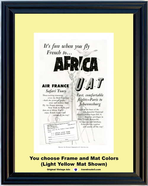 1957 57 Africa Air France Safari Tours U.A.T. Airline Giraffes Vacation Travel Vintage Ad