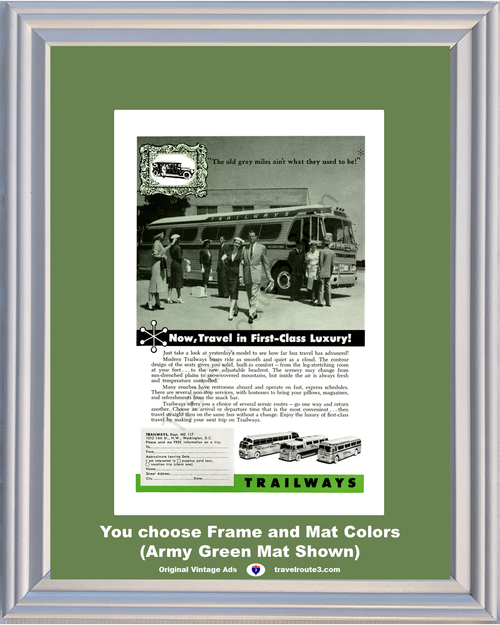 1957 57 Trailways First Class Luxury Bus Travel Scenic Routes Trip Vacation Vintage Ad