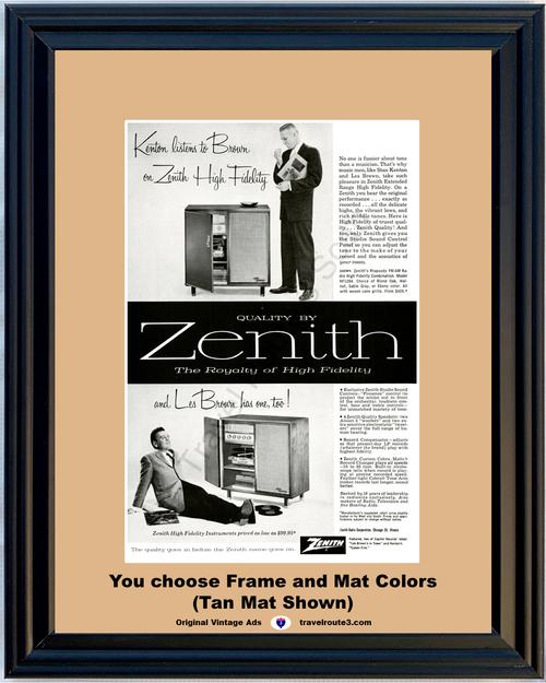 1957 57 Zenith Phonograph Record Player Stan Kenton Les Brown AM FM Radio High Fidelity Cabinet Vintage Ad