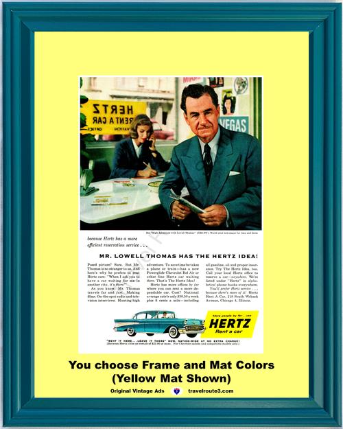 1957 57 Hertz Rent a Car Chevrolet Chevy Bel Air 4 Door Sedan Vacation Travel Vintage Ad