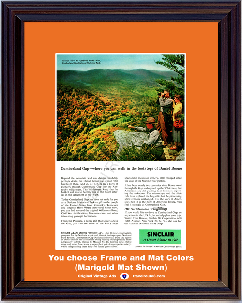 1957 57 Sinclair Oil Cumberland Gap National Historical Park Mission 66 Fall Autumn Vacation Travel Vintage Ad