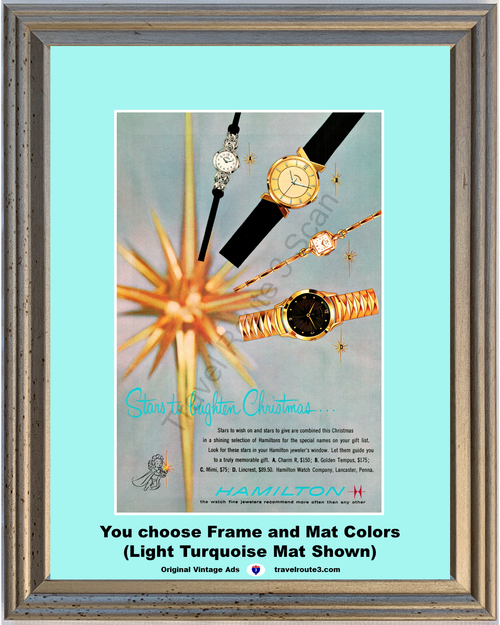 1957 57 Hamilton Watch Christmas Star Charm Golden Tempus Mimi Lincrest Wrist Jewelry Vintage Ad