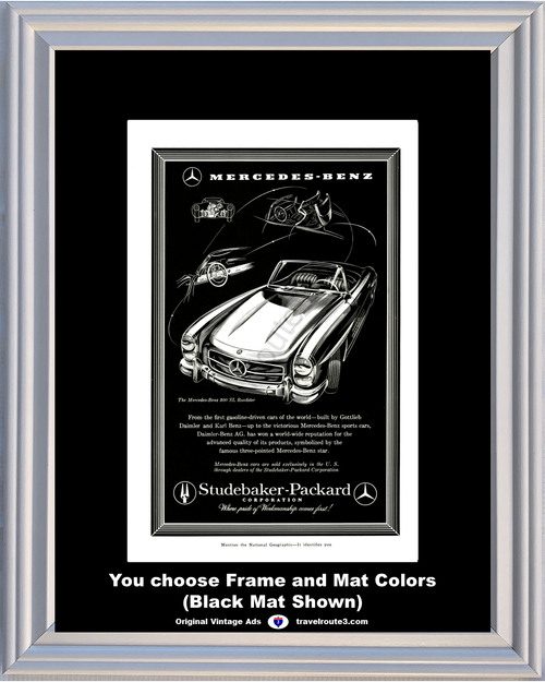 1958 Mercedes Benz 300 SL Roadster Vintage Ad Daimler Studebaker Packard Late 1957 Ad *You Choose Frame-Mat Colors-Free USA S&H*