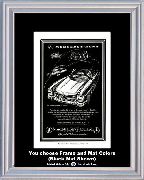 1958 Mercedes Benz 300 SL Roadster Vintage Ad Daimler Studebaker Packard Late 1957 Ad *You Choose Frame-Mat Colors-Free USA S&H*