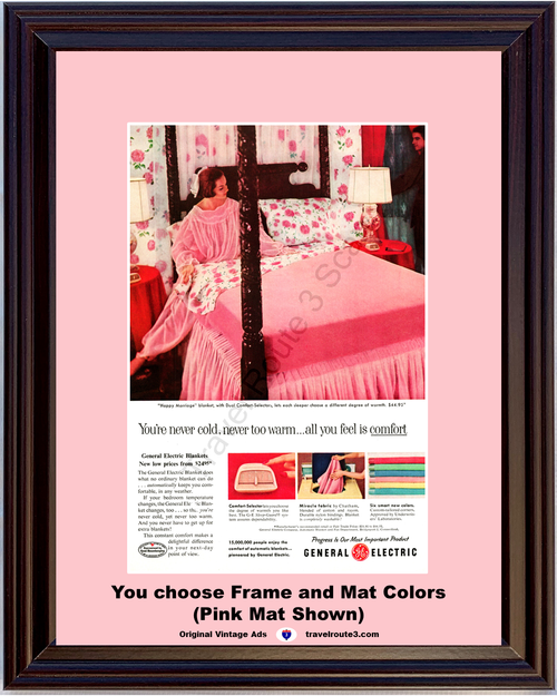 1957 57 General Electric GE Automatic Blanket Happy Marriage Pink Bed Vintage Ad