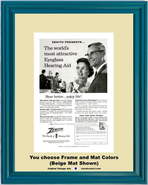 1957 57 Zenith Eyeglass Hearing Aid Hear Better Enjoy Life Health and Wellness Vintage Ad