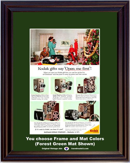 1957 57 Eastman Kodak Medallion 8 Movie Camera Brownie Projector Cine Royal Magazine Turret K-100 Christmas Vintage Ad