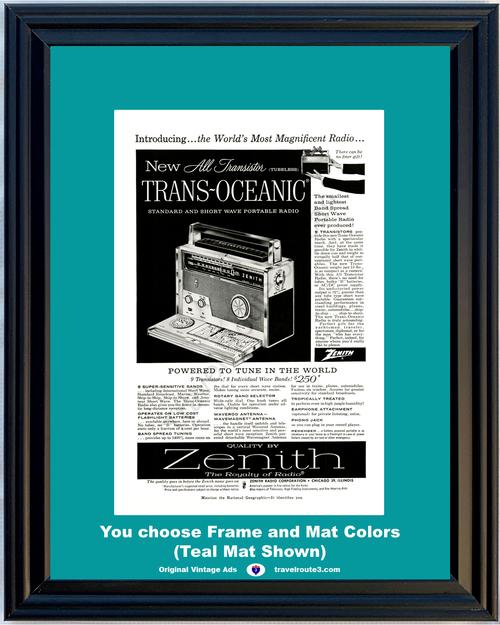 1957 57 Zenith All Transistor Tubeless Trans Oceanic AM FM Short Wave Portable Radio Vintage Ad