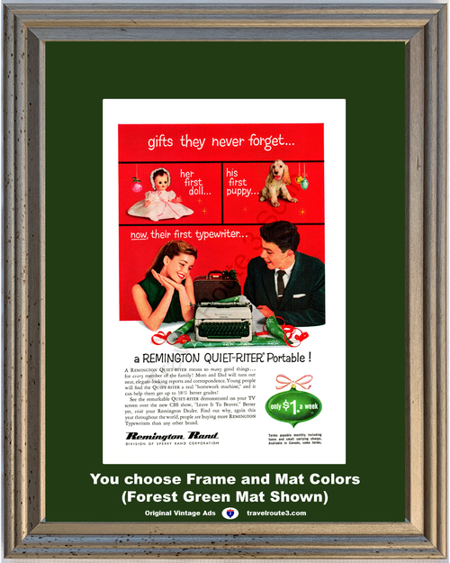 1957 57 Remington Rand Typewriter Quiet Riter Sperry Christmas Doll Puppy Ornament Vintage Ad