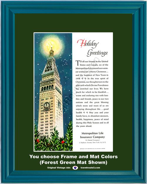 1957 57 Metropolitan Life Insurance Christmas Star Holiday Greeting Building Skyscraper Holly Vintage Ad