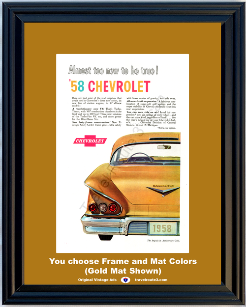 1958 Chevrolet Impala Vintage Ad 58 Chevy 50th Anniversary Gold Fins Late 1957 *You Choose Frame-Mat Colors-Free USA S&H*