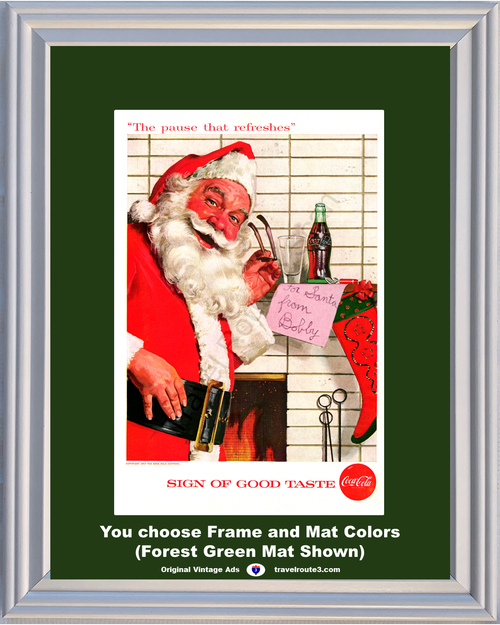 1957 57 Coca Cola Coke Santa Claus Christmas The Pause that Refreshes Sign of a Good Taste Fireplace Stocking Vintage Ad
