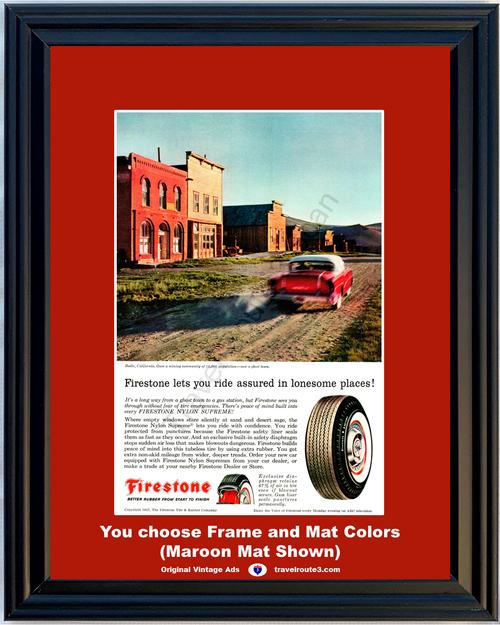 1957 57 Firestone Tire Buick Bodie California CA Mining Ghost Town Nylon Supreme Vintage Ad