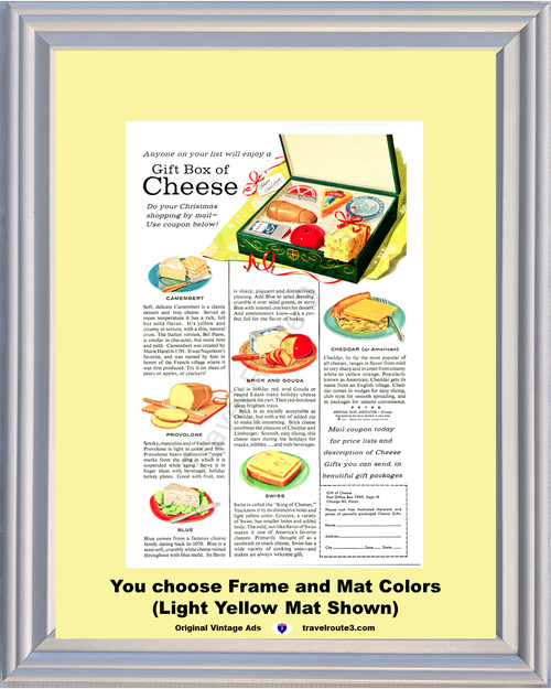 1957 57 Cheese Gift Box Christmas Holiday Cheddar Swiss Blue Provolone Camembert Vintage Ad