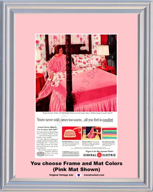 1957 57 General Electric GE Happy Marriage Electric Blanket Pink Bed Vintage Ad