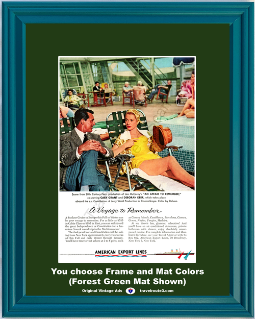 1957 Cary Grant An Affair to Remember Vintage Ad Deborah Kerr Movie Vacation Travel American Export Cruise *You Choose Frame-Mat Colors-Free USA S&H*