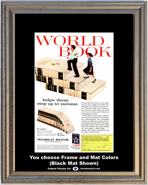 1957 57 World Book Encyclopedia Children Students Success School Steps Vintage Ad