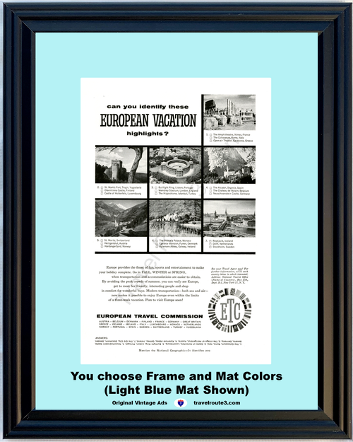1957 57 European Travel Commission Italy Luxembourg Portugal Germany Austria Ireland Sweden Vacation Travel Vintage Ad