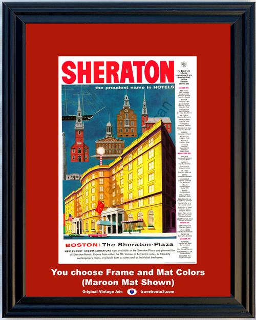 1957 57 Sheraton Plaza Boston Massachusetts Hotel Suite Building Architecture MA Vacation Travel Vintage Ad
