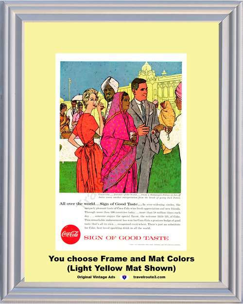 1957 57 Coca Cola Coke Sign of Good Taste India Maharaja's Palace Jack Potter Painting Vintage Ad