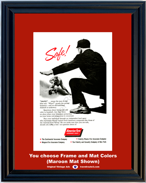 1957 57 America Fore Insurance Baseball Umpire Safe Fire Fidelity Casualty Vintage Ad
