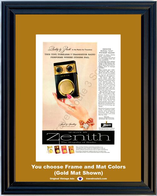 1957 57 Zenith Tiny Tubeless 7 Transistor Radio for Travelers Bracelet Jewels by Spaulding Vintage Ad