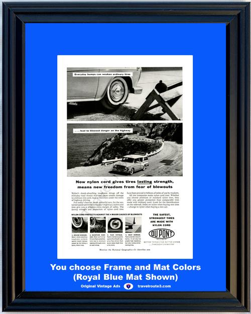 1957 57 Du Pont DuPont Tire Nylon Cord Rambler Station Wagon California Coast Vintage Ad