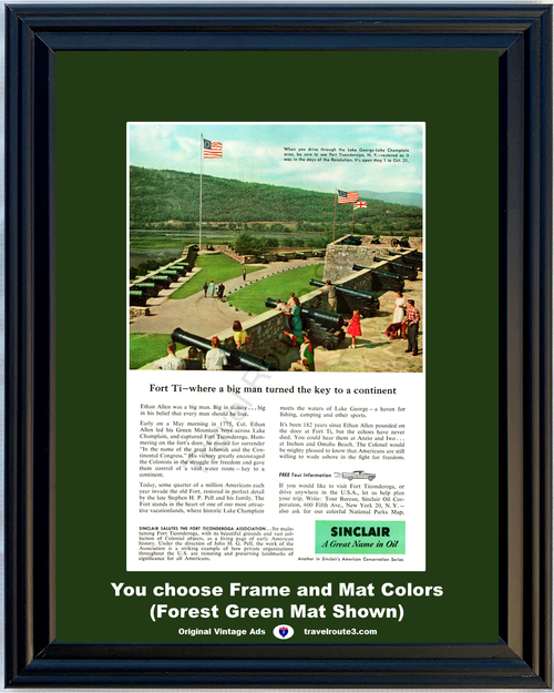 1957 57 Sinclair Oil Fort Ti Ticonderoga New York Ethan Allen Cannons Vacation Travel Vintage Ad