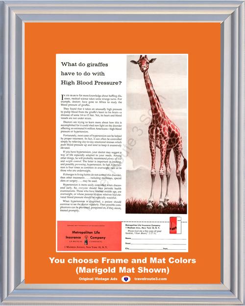 1957 57 Metropolitan Life Insurance Giraffe High Blood Pressure Health and Wellness Vintage Ad