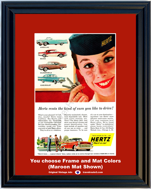 1957 57 Hertz Rent a Car Chevrolet Chevy Cadillac Buick Oldsmobile Vacation Travel Vintage Ad
