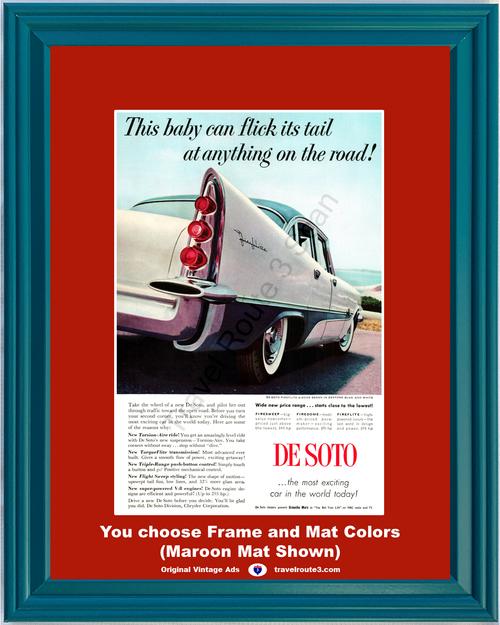 1957 57 De Soto Fireflite 4 Door Sedan Seatone Blue and White Tail Light Taillight DeSoto Vintage Ad