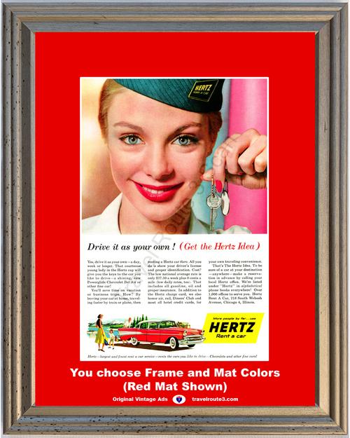 1957 57 Hertz Rent a Car Chevrolet Chevy Bel Air 4 Door Sedan Rental Vintage Ad