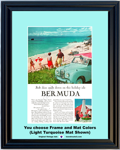 1957 57 Bermuda Beach Ocean 1954 54 Austin A40 Somerset Taxi Tom Moore Poem Vacation Travel Vintage Ad