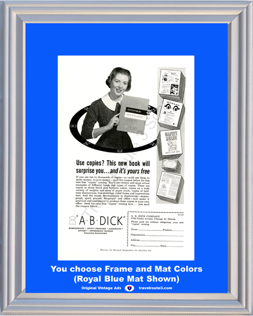 1957 57 A B Dick Copies Copying Machine Azograph Mimeograph Spirit Process Offset Office Vintage Ad