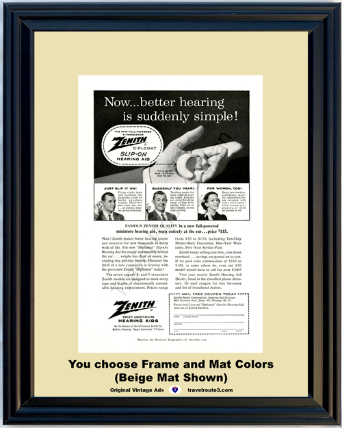 1957 57 Zenith Diplomat Full Powered 4 Transistors Slip On Hearing Aid Health and Wellness Vintage Ad