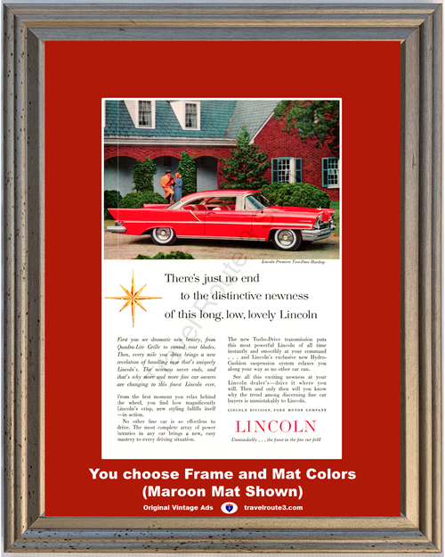 1957 57 Lincoln Premiere 2 Door Hardtop Red Long Low Lovely Vintage Ad