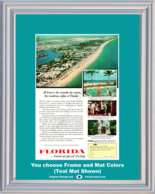 1957 57 Florida FL Beach Ocean Swimming Pool Cattle Branding Ranch Horse Carriage Vacation Travel Vintage Ad