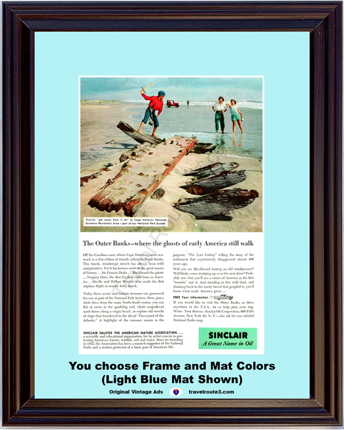 1957 57 Sinclair Oil Outer Banks Cape Hatteras National Seashore Recreation Area North Carolina NC Vacation Travel Vintage Ad