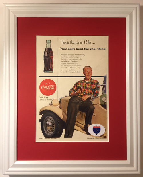 1954 54 Coca Cola Vintage Ad Coke Bottle Antique Car You Can't Beat the Real Thing  Coca, cola, cocacola, coke, soda, pop, fountain, soft, drink, drinks, refreshment, refreshments,