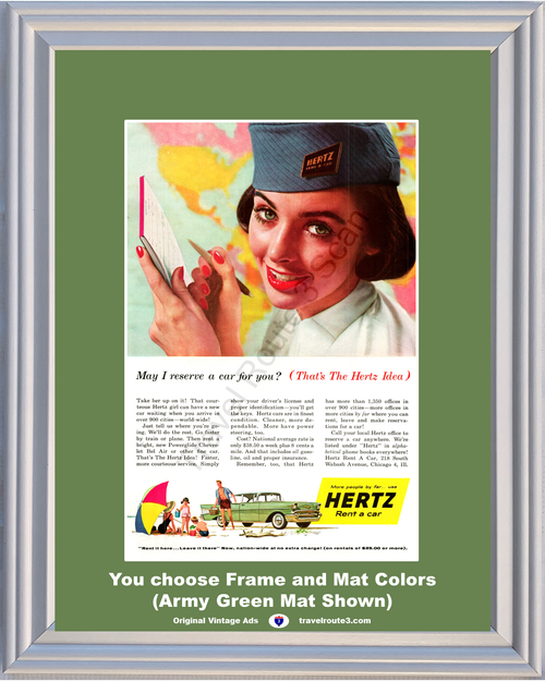 1957 Hertz Chevrolet Chevy Vintage Ad Rent a Car Girl Woman Reserve Reservation 57 - Free Priority Shipping to USA