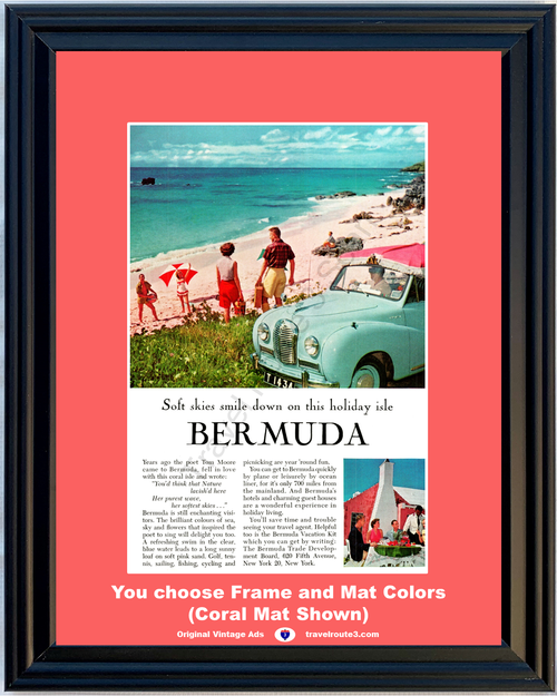 1957 Bermuda Vacation Travel Vintage Ad 1954 54 Austin A40 Somerset Beach Ocean Taxi Convertible 57 **You choose Frame & Mat Colors -Free Priority Shipping to USA**