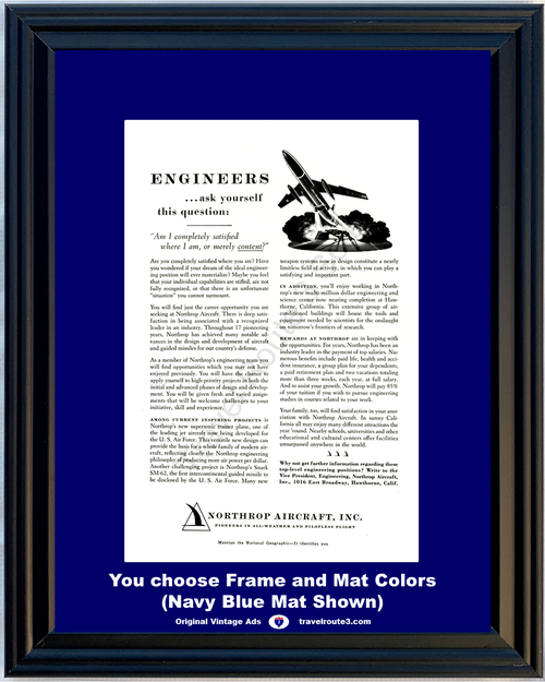1957 Northrop Aircraft Engineer Position Vintage Ad Employment Job Missile Jet 57 **You Choose Frame-Mat Colors-Free USA Priority Shipping**